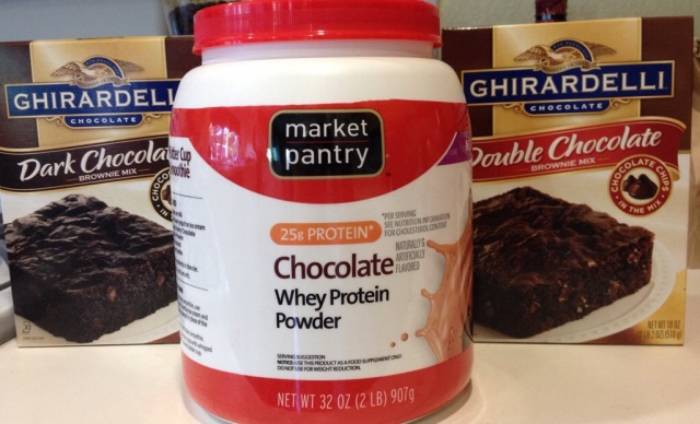 Hello Protein. Good-bye indulgently rich and dreamy chocolatey goodness that is in those sinful brownies. Sniff.